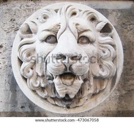 Stone lion head on the white old wall background