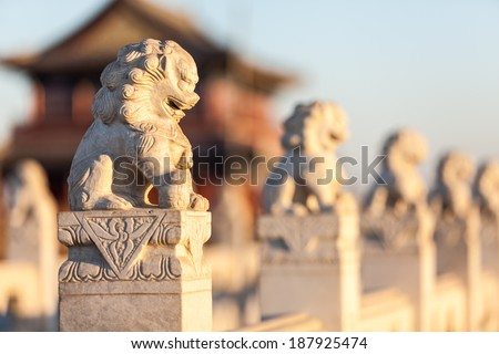 Stone lion sculptures in china - stock photo