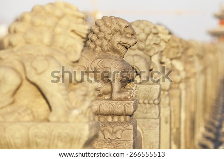 Stone lion sculptures in china