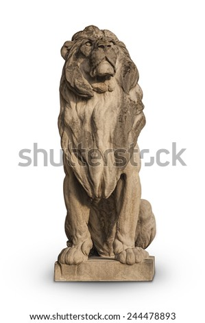 Stone Lion Statue Isolated on White