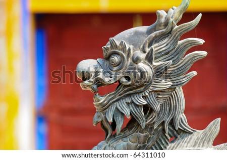 Stone lion, vietnam - stock photo