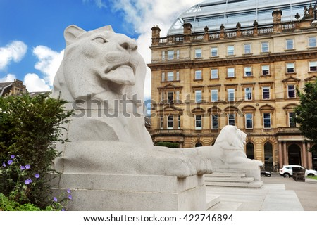 Stone Lions monument in Glasgow  - stock photo