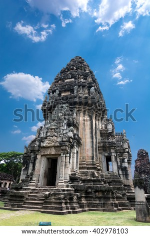 Stone monument at Pimai castle, historical park and ancient castle in Nakhon Ratchasima Province in Thailand .