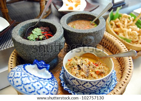 Stone mortar and pestle, thai cooking tool - stock photo