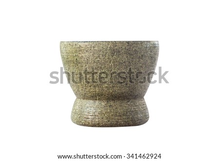 Stone mortar isolated on the white background. This has clipping path - stock photo