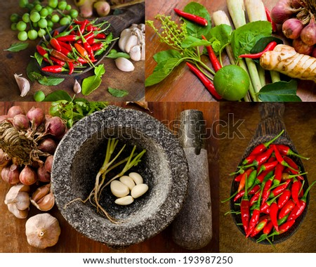 Stone mortar with many kind of herbs  - stock photo