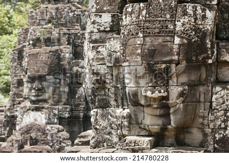Stone murals and sculptures in Angkor wat/ Angkor Thom. Siem Reap. Cambodia - stock photo