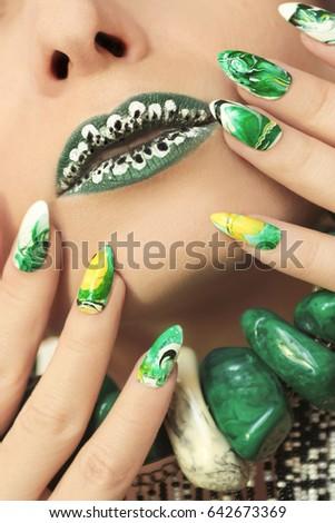Stone Nail Design White Green Colors Stock Photo Edit Now