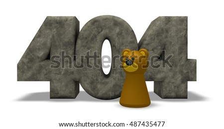 stone number 404 and bear pawn - 3d illustration