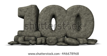 stone number one hundred on white background - 3d rendering - stock photo