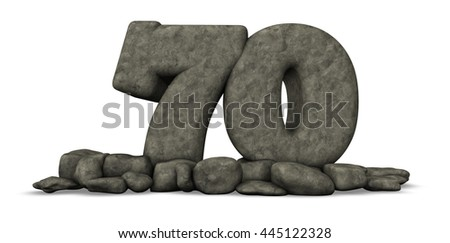 stone number seventy on white background - 3d rendering - stock photo