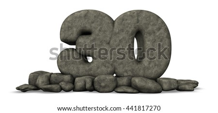 stone number thirty on white background - 3d rendering - stock photo
