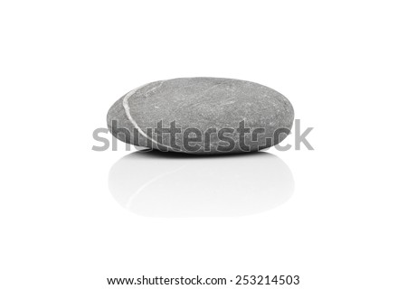 stone over white with a reflection shadow