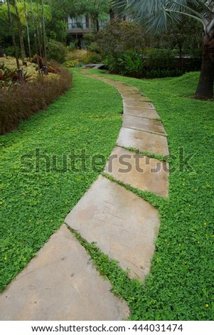 stone path in garden after rain - stock photo