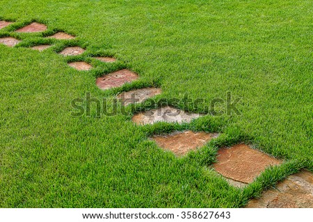 Stone path in green grass as a background.