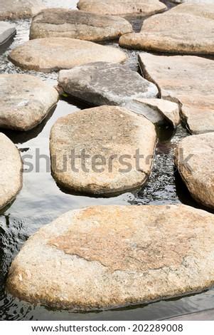Stone path in water garden - stock photo