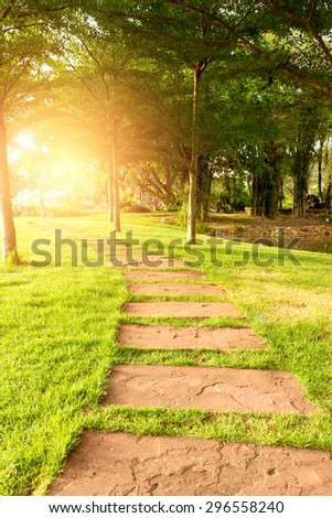 Stone path on green grass,flare,sunlight - stock photo