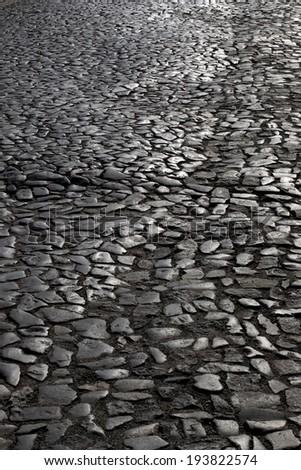 Stone pathway in monochrome - stock photo