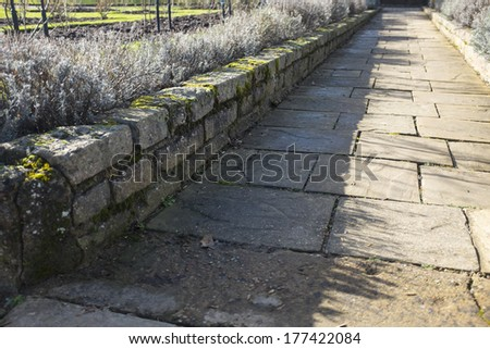 Stone pathway with brick wall and sharp shadow