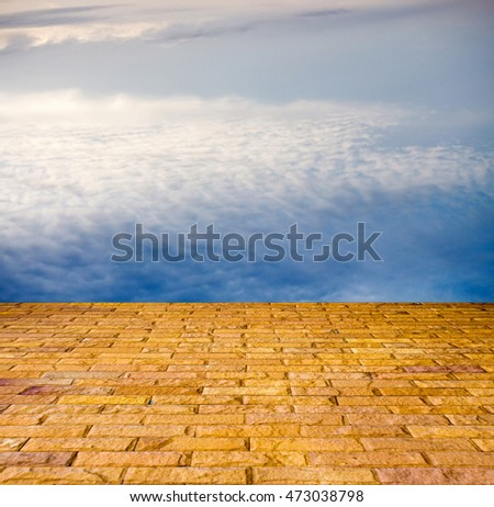 stone pavers in the sky