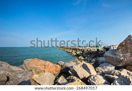 Stone pier at Thailand sea