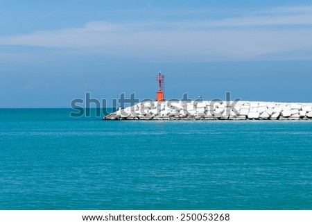 Stone Pier in Rimini, Italy - Summer - stock photo