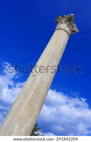 Stone pillar in ancient Salamis in Northern Cyprus - stock photo