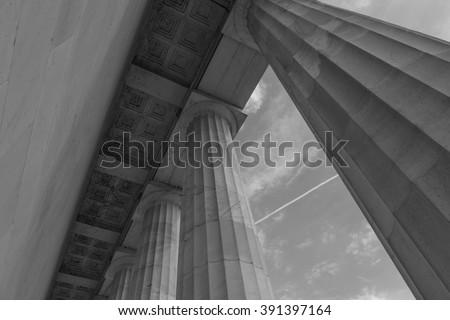 Stone Pillars in Black and White - stock photo
