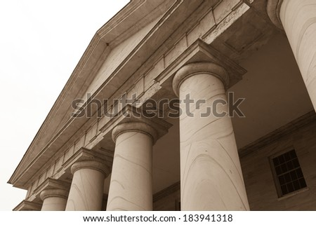 Stone Pillars on White Background - stock photo