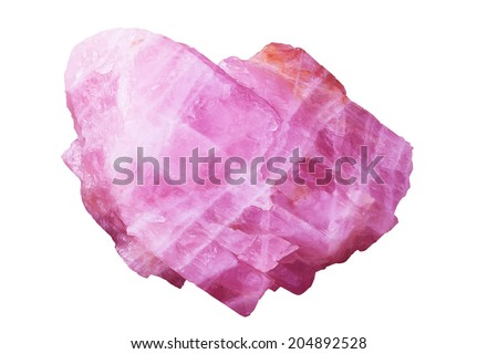 Stone pink color isolated on white background with clipping path. - stock photo