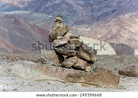 Stone pyramid at Death Valley National Park - stock photo