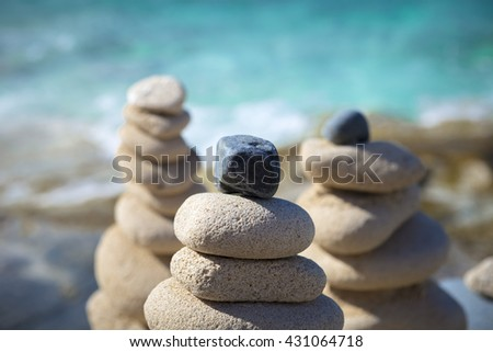 Stone Pyramids at tropical beach