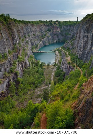Stone quarry Big America near Prague, Czech Republic - stock photo