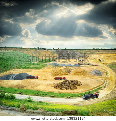 Stone quarry working area. Industrial concept - stock photo