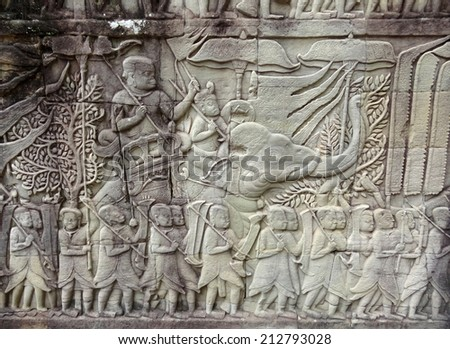 stone relief detail of a temple in Angkor, Cambodia named Preah Khan - stock photo