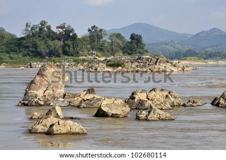 Stone River Nature Outdoor Mountain Rock - stock photo