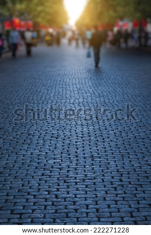 Stone road and morning shadows at Chinese traditional festival - stock photo