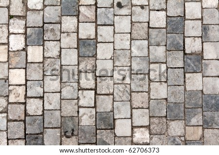 Stone roadway from granite area in Prague - stock photo