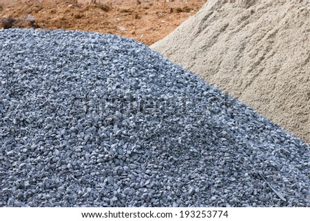 Stone, sand and mounds for construction - stock photo