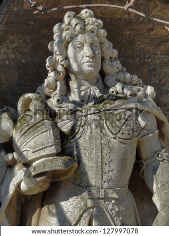 stone sculpture detail at the Marienburg Castle in Lower Saxony (Germany) showing Ernest Augustus, Elector of Brunswick-L