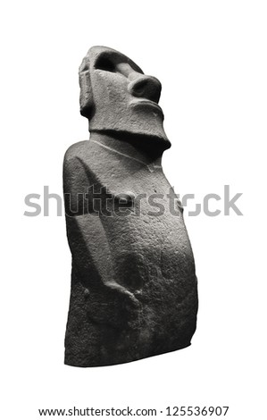 Stone sculpture of a Moai statue