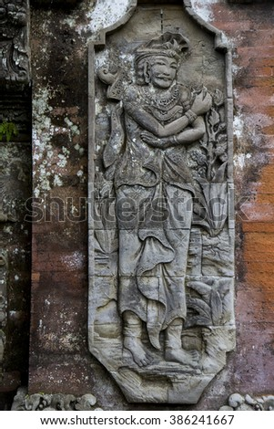 Stone sculpture on entrance door of temple