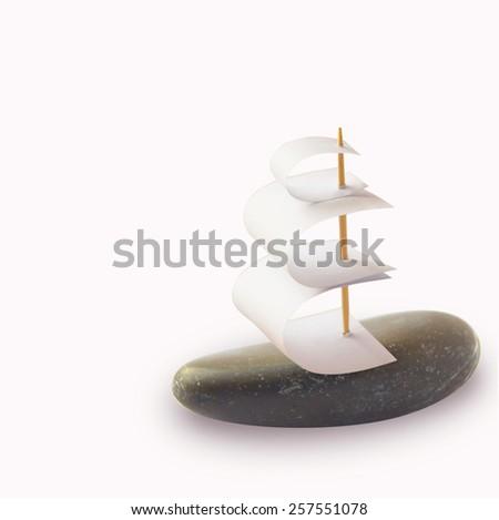 stone ship isolation on a white background - stock photo