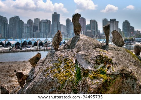Stone skyscrapers, view from Stanley Park at downtown of Vancouver with Marina - stock photo