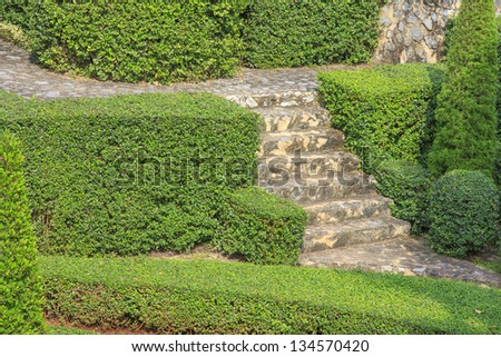 Stone stair surrounded by lush plants in a garden - stock photo