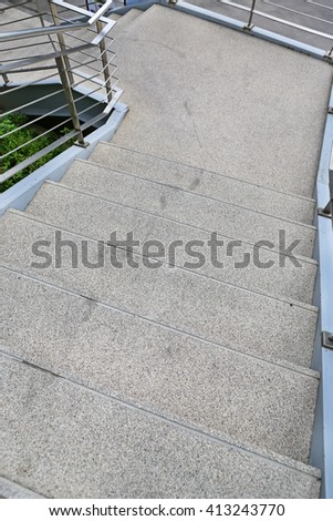 Stone stair with railing of stair to down - stock photo