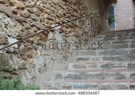stone staircase in the street