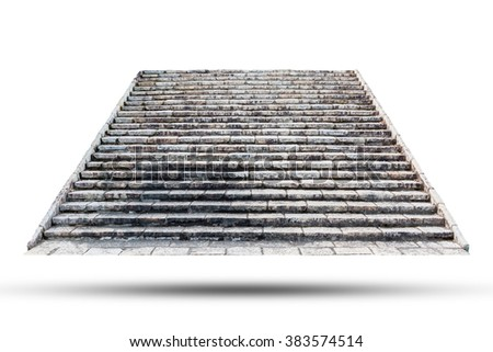 Stone staircase isolated on white background. Object with clipping path - stock photo