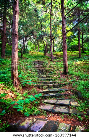 Stone staircase leading up a walkway - stock photo