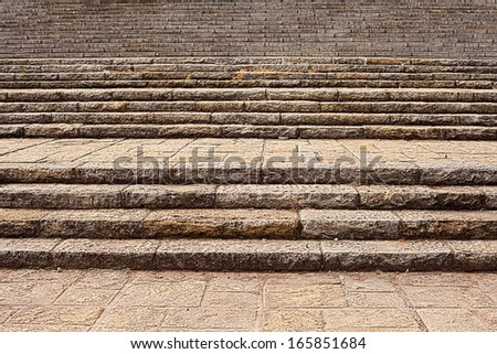 stone staircase of an old building - stock photo